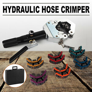 Hydraulic Hose Crimper Tool Kit 7 Dies Portable Hose Fittings Handheld Crimping