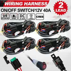 4x Led Work Driving Light Bar Wiring Harness Switch Relay Kit For 4wd 12v 40a