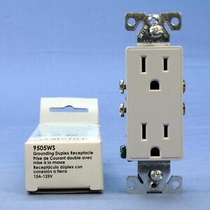 Cooper Aspire White Satin pale Gray Decorator Receptacle Outlet 5 15r 9505ws