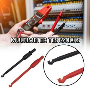 2x 4mm Automotive Multimeter Test Lead Kit Power Probe Wire piercing Clip Tools
