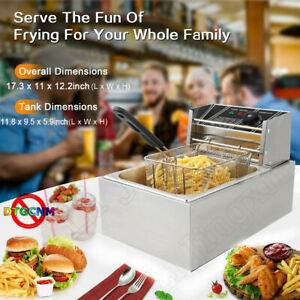 1700w 6l Electric Deep Fryer Single Tank Commercial Restaurant Stainless Steel