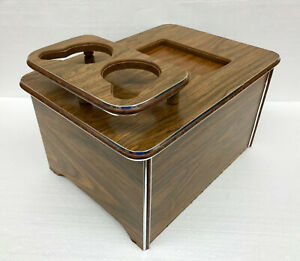 Vtg Custom Wood Grain Car Van Rv Center Storage Chest Console Cup Holder Armrest