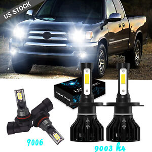 4pcs For Toyota Tundra 2000 2006 Led Bulbs Kit Headlight H4 Fog Light 9006 White