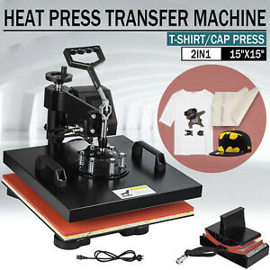 2 In 1 Heat Press Machine Swing Away Digital Sublimation T shirt Hat Led Display