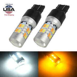 2x White Amber 7443 7440 T20 Led Drl Switchback Turn Signal Parking Light Bulbs
