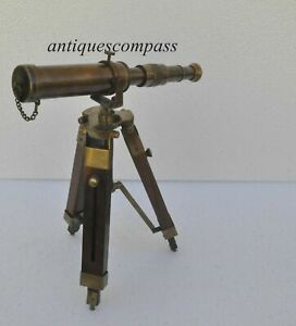 Solid Brass Telescope With Wooden Tripod Antique Nautical Vintage Decorative