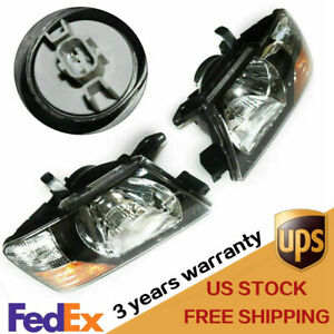 Pair lh Rh headlights Head Lamps Lights W Bulds For Mitsubishi Pajero Montero