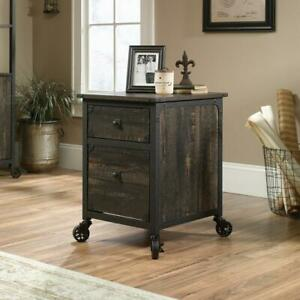 Carbon Oak File Cabinet With Casters For Mobility W Two Locking Office