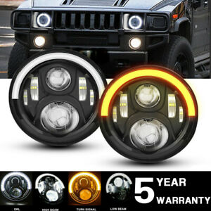 Dot Approved Halo 7 Round Led Projector Hi lo Beam Headlight For Hummer H1 H2