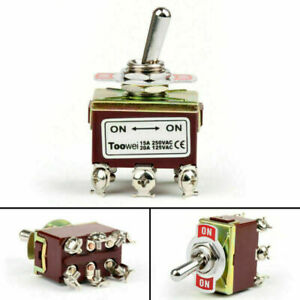 4pc 2 Terminal 6pin On on 15a 250v Toggle Switch Screw Dpdt Industrial Grade Us