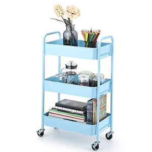 Caxxa 3 tier Rolling Metal Storage Organizer Mobile Utility Cart With Caster