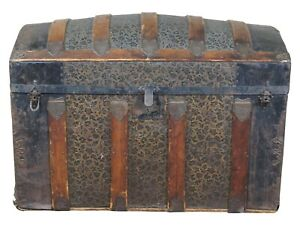 Antique Victorian Dome Top Chest Steamer Trunk Embossed Metal Oak Panel 35