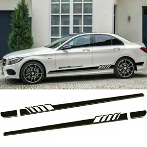 Black Side Skirt Stripes Decal Racing Trim For Mercedes Benz C250 C300 63 Amg