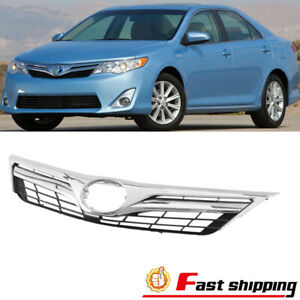Fits 2012 2014 Toyota Camry Le Xle Chrome Front Bumper Upper Hood Grille Grill
