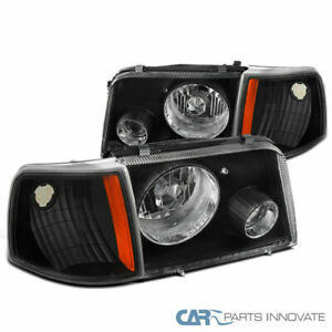 For 93 97 Ford Ranger Black Clear Headlights Projector Fog Corner Signal Lamps