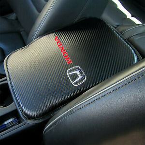 Honda Racing Car Center Console Armrest Cushion Mat Pad Cover Carbon Fiber Style