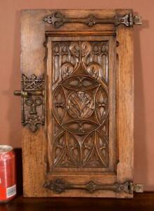 Antique French Gothic Solid Oak Wood Cabinet Door With Hinges Latch