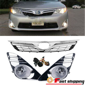 Fits 2012 2014 Toyota Camry Le Xle Bumper Grille Grill Chrome Fog Lights Lamps