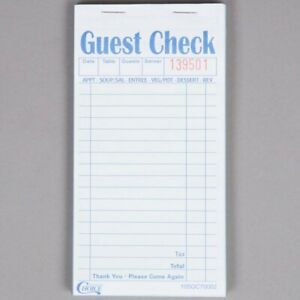 2 Part Green And White Carbonless Guest Check Book 50 case Numbered Sheets