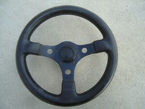 Vintage Black Leather Wrap 13 Grant Aluminum Steering Wheel Car Truck As is