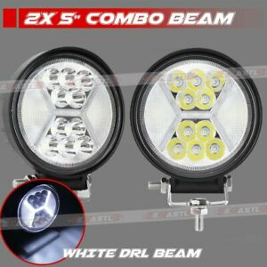 2x 4inch 200w Round Led Driving Work Lights Spot Flood Beam Offroad Suv Atv 4wd