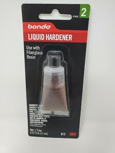 New 3m Bondo 912 Fiberglass Resin Liquid Hardener 0 37oz Body Filler