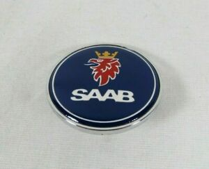 Saab 900 9000 Hood Emblem 79 02 Front Blue chrome Badge 93 Sign Symbol Logo