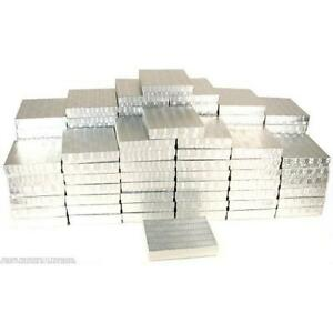 100 Silver Foil Cotton Filled Jewelry Gift Boxes 6 1 8