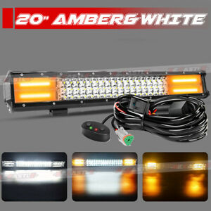 20inch 288w White Amber Led Strobe Dual Color Light Bar Combo Offroad Suv Truck
