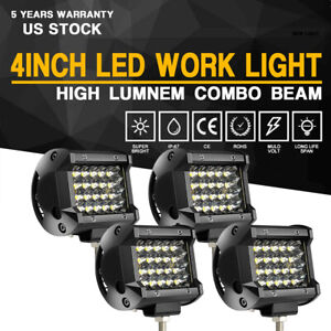 4x 4 Led Work Light Pods Offroad Spot Driving Fog Lamps Car Trucks 4wd Atv Utv