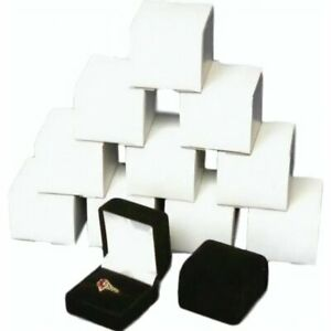 12 Black Velvet Flocked Ring Gift Boxes Jewelry Display