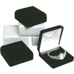 6 Black Flocked Watch Bracelet Jewelry Gift Boxes