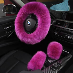 3 Pieces 1 Set Sheepskin Fur Car Styling Steering Wheel Covers hot Pink