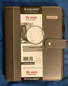 At a glance My Week Undated Planner New Grey Leather Strap Zipper Weekly Daily