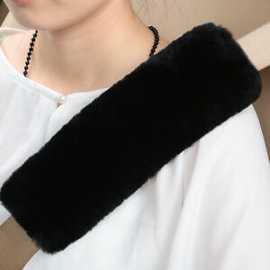Black Car Seat Belts Covers 2 Pack Wool Sheepskin Seatbelt Shoulder Pad From Us