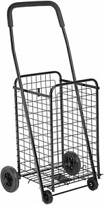 Folding Shopping Cart Basket With Wheels For Laundry Travel Grocery Utility Shop