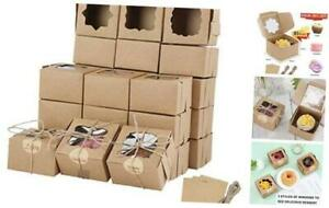 81 Packs Brown Bakery Boxes With Window Portable Single Individual Cupcake Boxe