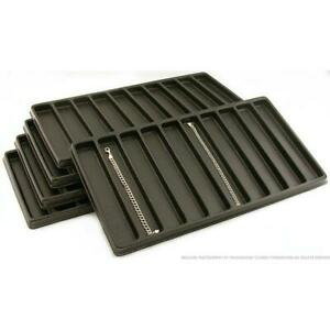 5 Black Plastic 10 Compartment Jewelry Tray Inserts