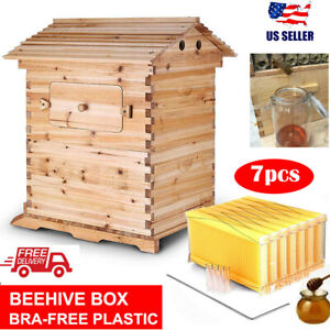 Us Upgraded Super Beehive Brood Bee House 7 Pcs Free Flowing Honey Hive Frames