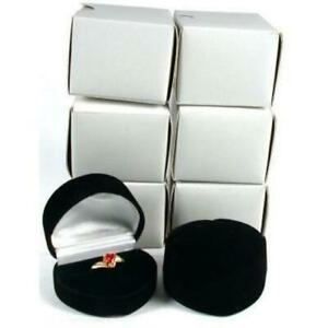 6 Heart Ring Gift Boxes Black Showcase Displays