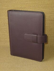 Desk classic Day timer Burgundy Leather 1 Rings Open Planner binder