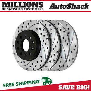 Front Rear Drilled Slotted Disc Brake Rotors Set Of 4 For Vw Jetta Gti Passat