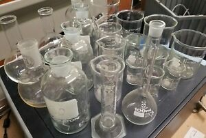 21 Piece Mixed Laboratory Chemistry Glassware Lot Pyrex Kimax Wheaton