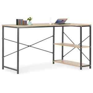 Wood Computer Desk With Storage Shelves Home Office Study Table Workstation