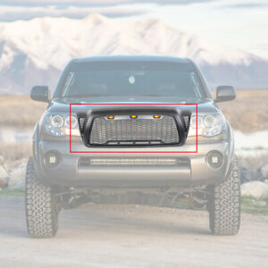 Black Front Grille For 2005 2011 Toyota Tacoma Honeycomb Grill With 3 Led Lights