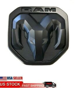 New 2019 20 Dodge Ram 1500 3500 Matte Black Rams Head Logo Tailgate Emblem Oem
