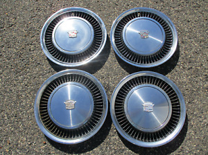 Genuine 1974 To 1980 Cadillac Deville Fleetwood Turbine Hubcaps Wheel Covers