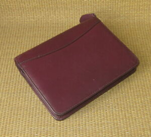 Compact Franklin Covey quest Burgundy Leather 1 Rings Zip Planner binder