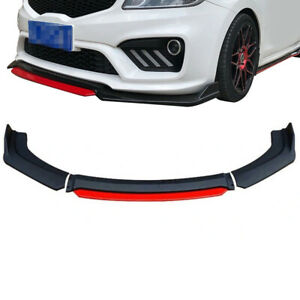 Universal Black Red Front Bumper Lip Splitter Spoiler For Honda Civic Accord