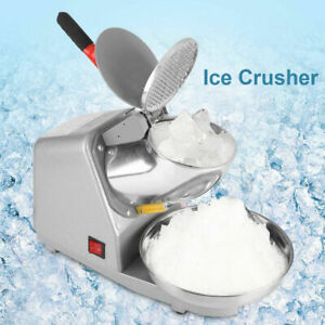 187lbs hr Electric Dual Blades Ice Crusher Snow Cone Maker Machine Sliver Usa